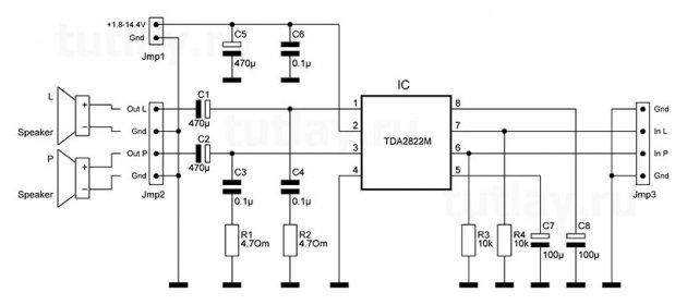 усилитель на tda2822m smd