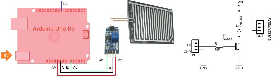 Схема подключения датчика дождя к Arduino