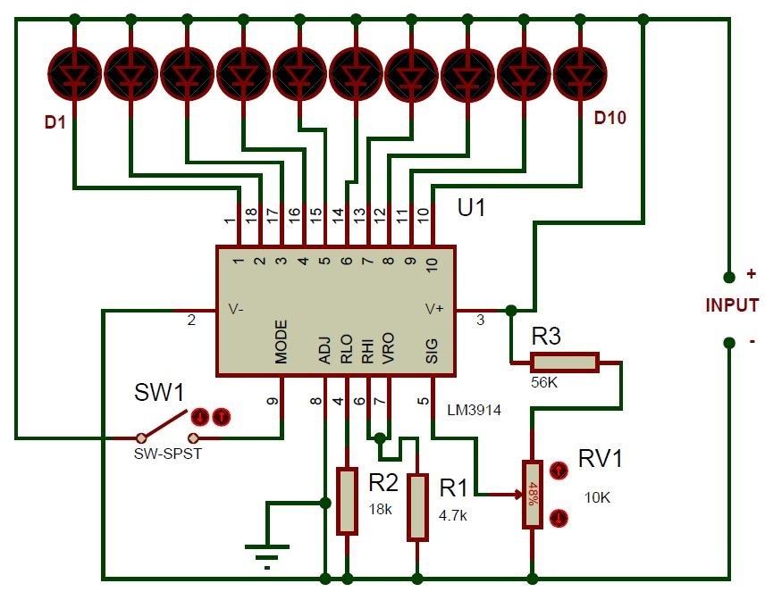 Схема индикатора уровня заряда