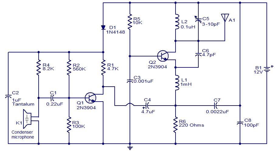Cхема FM передатчика на 200