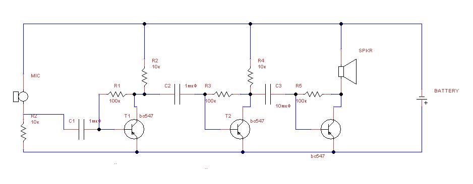 Схема подключения электретного