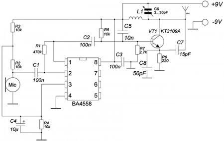 Схема радиожучка на микросхеме